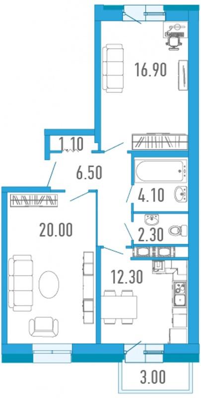 Планировка Двухкомнатная квартира площадью 64.1 кв.м в ЖК «Царский двор»