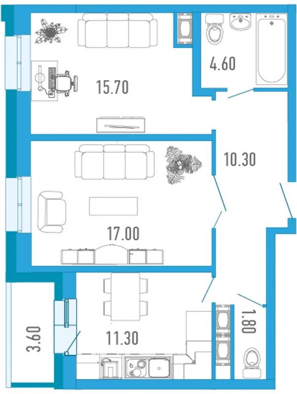 Планировка Двухкомнатная квартира площадью 62.5 кв.м в ЖК «Царский двор»