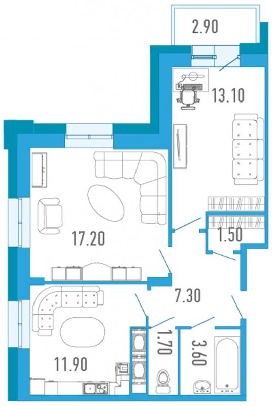 Планировка Двухкомнатная квартира площадью 57.7 кв.м в ЖК «Царский двор»