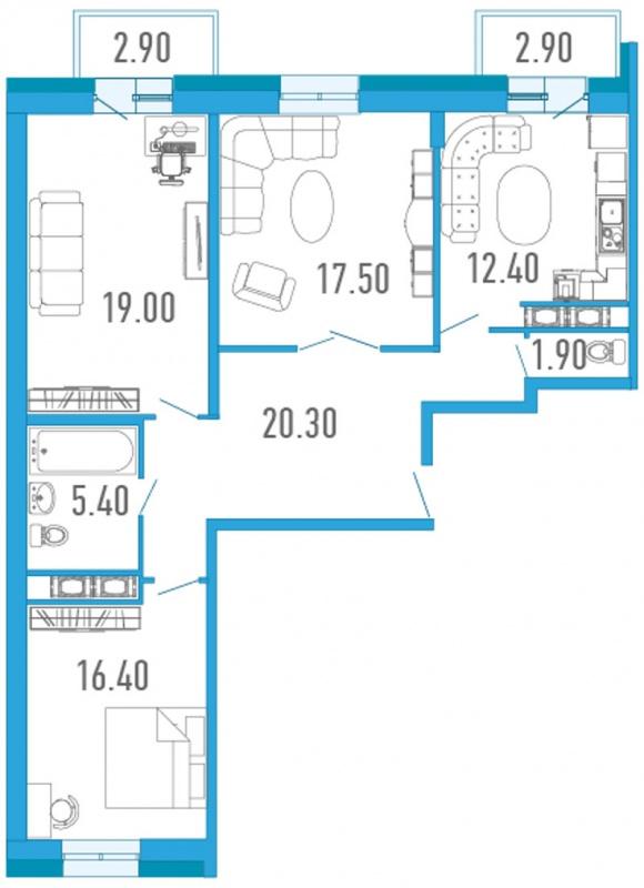 Планировка Трёхкомнатная квартира площадью 94.7 кв.м в ЖК «Царский двор»