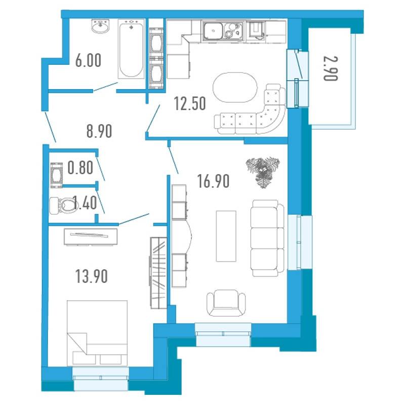 Планировка Двухкомнатная квартира площадью 61.8 кв.м в ЖК «Царский двор»