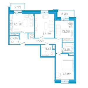 Планировка Трёхкомнатная квартира площадью 89.87 кв.м в ЖК «Царский двор»