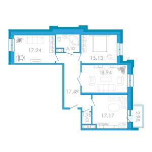 Планировка Трёхкомнатная квартира площадью 94.25 кв.м в ЖК «Царский двор»