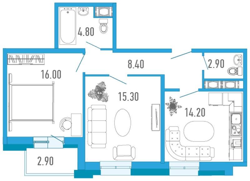 Планировка Двухкомнатная квартира площадью 63 кв.м в ЖК «Царский двор»