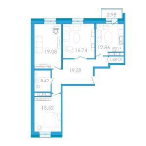 Планировка Трёхкомнатная квартира площадью 93.65 кв.м в ЖК «Царский двор»