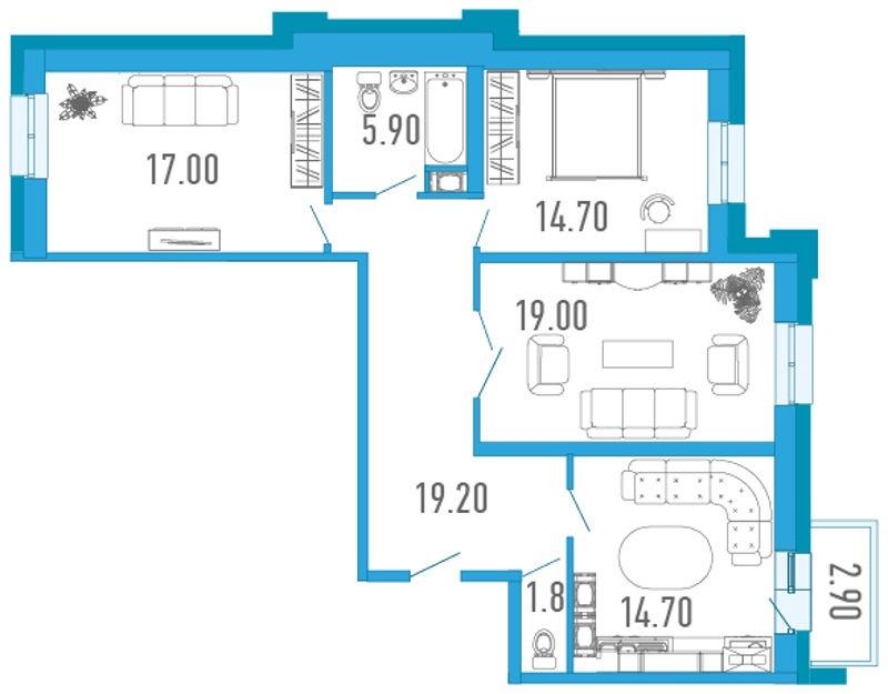Планировка Трёхкомнатная квартира площадью 93.7 кв.м в ЖК «Царский двор»