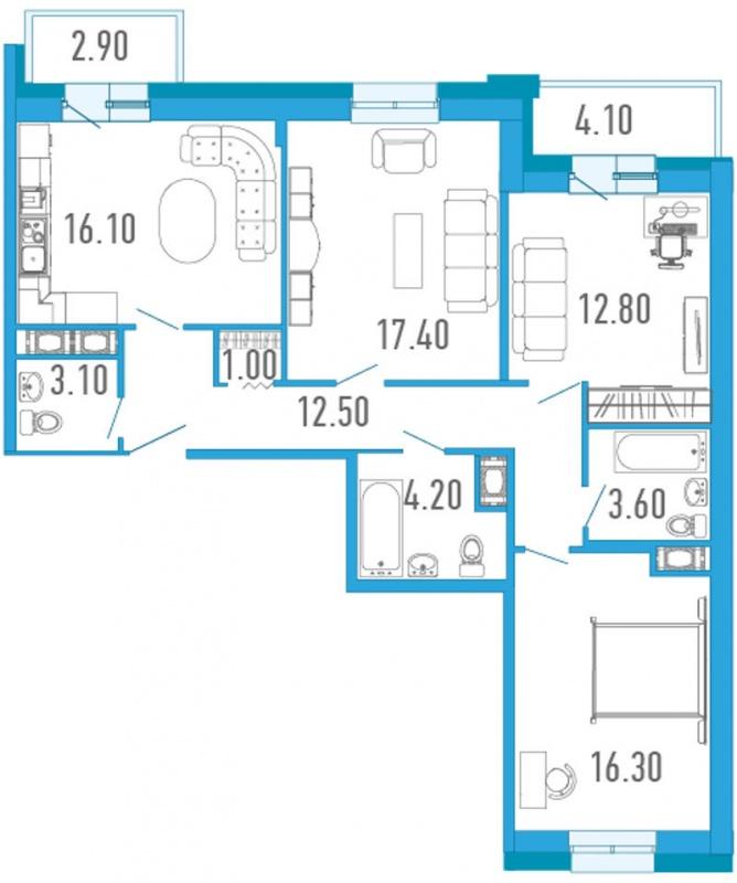 Планировка Трёхкомнатная квартира площадью 90.4 кв.м в ЖК «Царский двор»