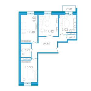 Планировка Трёхкомнатная квартира площадью 96.15 кв.м в ЖК «Царский двор»