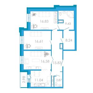 Планировка Трёхкомнатная квартира площадью 98.62 кв.м в ЖК «Царский двор»
